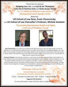 CWLC Speaker Series Erwin Chemerinsky Michele Goodwin UCI School of Law Feminist Majority Foundation